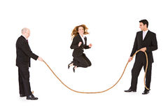 Business: Businesswoman Jumping Rope Stock Images