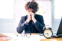 Business busy and headache. Busy and headache person, unsuccessful businessman Royalty Free Stock Photography