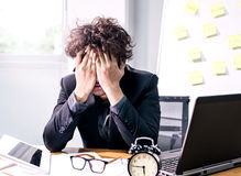 Business busy and headache. Busy and headache person, unsuccessful businessman Stock Photo