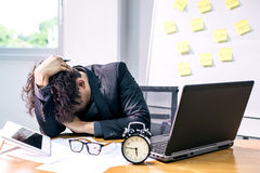 Business busy and headache. Busy and headache person, unsuccessful businessman Royalty Free Stock Photos