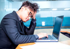 Business busy and headache. Busy and headache person, unsuccessful businessman Stock Photos