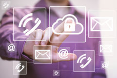 Business button cloud lock icon messaging web mail sending Royalty Free Stock Photography
