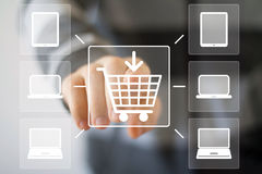 Business button connection web shopping computer. Business button connection shopping computer Royalty Free Stock Images
