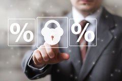 Business button lock security percent icon Royalty Free Stock Photography