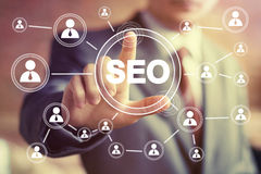 Business button SEO communication icon web sign Royalty Free Stock Photo