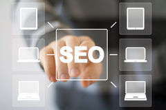 Business button SEO connection web computer Royalty Free Stock Images