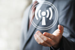 Business button sign Wifi web connection signal icon Royalty Free Stock Image