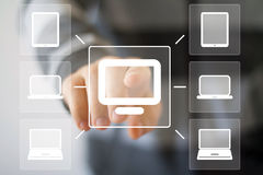 Business button virtual media connection web communication computer. Business button virtual media connection communication computer Stock Photos