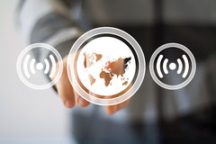 Business button Wifi map connection signal web Stock Images