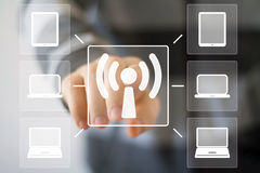 Business button Wifi web connection signal computer Stock Image