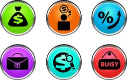 Business buttons. Collection of different color buttons for internet Stock Images