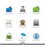 Business buttons...series no.11. Set of nine detailed business buttons from series Royalty Free Stock Photo