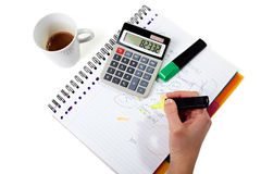 Business calculating hand Stock Images