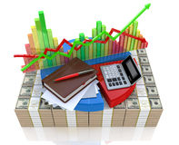 Business calculation - analysis of financial market. In the design of information related to business and economy Royalty Free Stock Photo