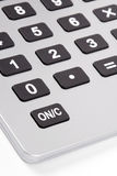 Business Calculator. Silver Business Calculator With Grey Buttons And Display, White Background royalty free stock images