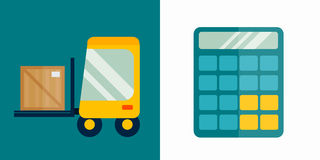 Business calculator and delivery transport technology vector icon. Mathematics calculator technology vector icon. Electronic financial display sign design Stock Images