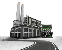 Business calculator with factory supply road concept stock illustration