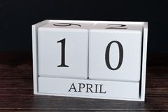 Business calendar for April, 10th day of the month. Planner organizer date or events schedule concept stock photography