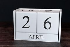 Business calendar for April, 26th day of the month. Planner organizer date or events schedule concept stock photo