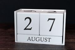 Business calendar for August, 27th day of the month. Planner organizer date or events schedule concept royalty free stock image