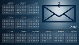Business calendar 2018 in English. Week starts on sunday. Calendar year 2018 in English. Week starts on sunday Royalty Free Stock Photography