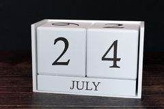 Business calendar for July, 24th day of the month. Planner organizer date or events schedule concept royalty free stock images