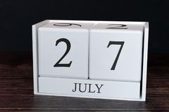 Business calendar for July, 27th day of the month. Planner organizer date or events schedule concept stock images