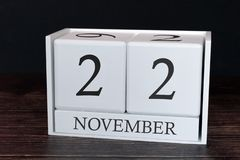 Business calendar for November, 22nd day of the month. Planner organizer date or events schedule concept stock photo