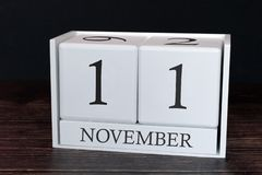 Business calendar for November, 11th day of the month. Planner organizer date or events schedule concept stock images