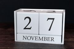 Business calendar for November, 27th day of the month. Planner organizer date or events schedule concept stock images