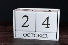Business calendar for October, 24th day of the month. Planner organizer date or events schedule concept stock images