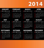 Business Calendar for 2014. Orange business Calendar for 2014. Starts Sunday Royalty Free Stock Photography