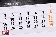 The daily business calendar page 2018 April 30. Daily business calendar page 2018 April 30 Royalty Free Stock Image