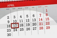 The daily business calendar page 2018 April 17. Daily business calendar page 2018 April 17 Royalty Free Stock Image
