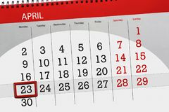 The daily business calendar page 2018 April 23. Daily business calendar page 2018 April 23 Royalty Free Stock Photography