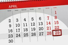 The daily business calendar page 2018 April 29. Daily business calendar page 2018 April 29 Stock Photos