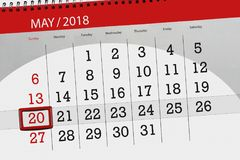 The daily business calendar page 2018 May 20. Daily business calendar page 2018 May 20 Stock Photography