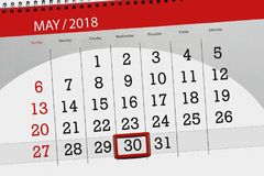 The daily business calendar page 2018 May 30. Daily business calendar page 2018 May 30 Royalty Free Stock Photography