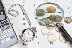 Business calendar, pocket watch. Stock Photography