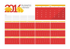 Business calendar 2016. Vector Illustrations perfect for design, website and infographic, with Business calendar 2016 Royalty Free Stock Photography
