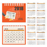 Business calendar for wall or desk year 2018 Stock Photos