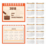 Business calendar for wall 2018. Business english calendar for desk on 2018 year. Set of the 12-month isolated pages with image on the cover. Week starts on Stock Photos