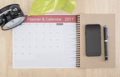 Business Calender Planner 2017 on desk office. organization Royalty Free Stock Image