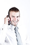 Business Call. Photo Of An Enthusiastic Young Corporate Man On The Phone Stock Photo