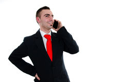 Business call. Young businessman talking with his touchscreen phone Stock Photos