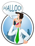 Business call at the beginning of the day. Illustration of a male businessman calling his partner on city background at the begining of the day Royalty Free Stock Images