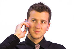 Business call - happy face Stock Images