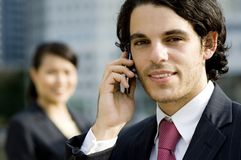 Business Call Outside Royalty Free Stock Photography