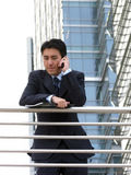 Business call outside on balcony Royalty Free Stock Photography