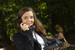 Business call in the park Royalty Free Stock Image